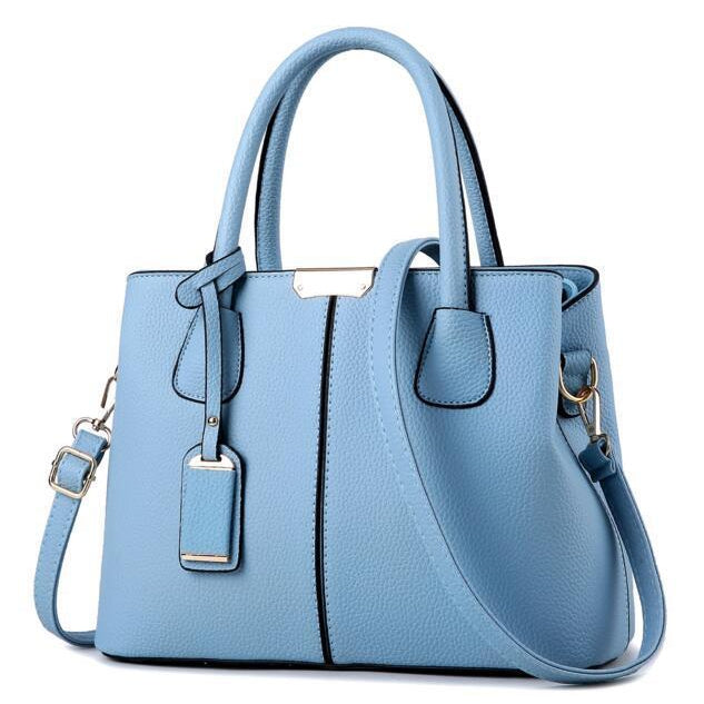 Women Sky Blue Tote Messenger Leather Handbag Front View