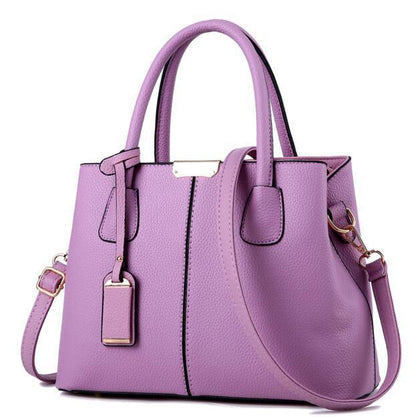 Women Purple Tote Messenger Leather Handbag Front View