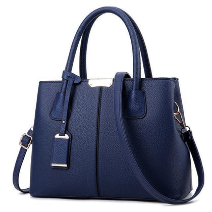 Women Navy Blue Tote Messenger Leather Handbag Front View