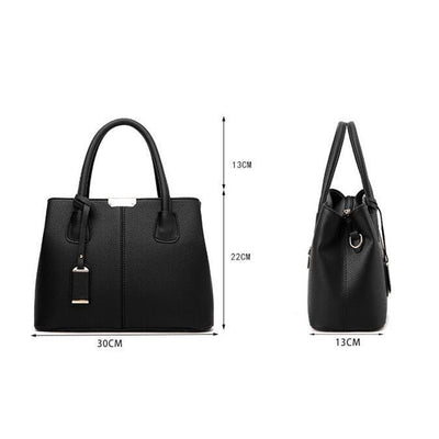 Women Black Tote Messenger Leather Handbag Dimensions 30 x 22 x 13 cm