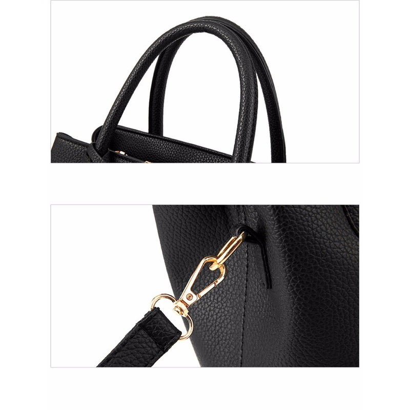 Women Black Tote Messenger Leather Handbag Gold Metal Connectors Clips