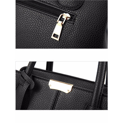 Women Tote Messenger Leather Handbag Slit Pocket Closeup view