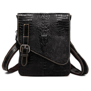Men Spectacular Alligator Crocodile Pattern Messenger Genuine Leather Bag for a Unique Persona