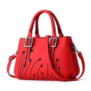 Women Faux-Leather Tote Messenger Bag with Rising Star Decorative Designing