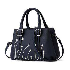 Women Leather Tote Messenger Bag with Rising Star Decorative Designing