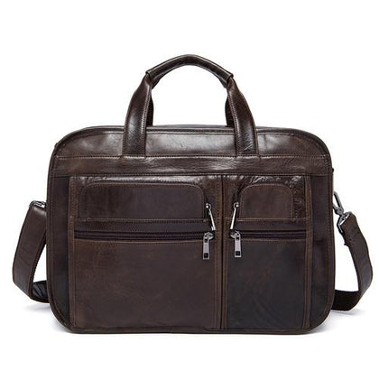 Genuine Leather Versatile Multiple Compartments Business Briefcase for Men
