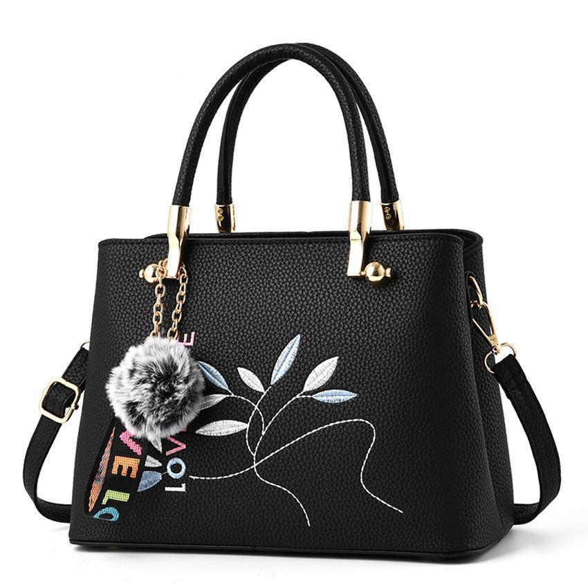 Women Tote Messenger Crossbody Love Embroidery Faux-Leather Bag with Fur Tassel