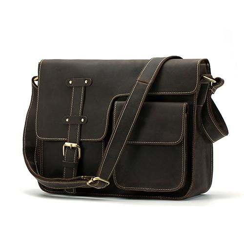 Men Shoulder Cross-body Messenger Leather Bag with Belt-Buckle Design