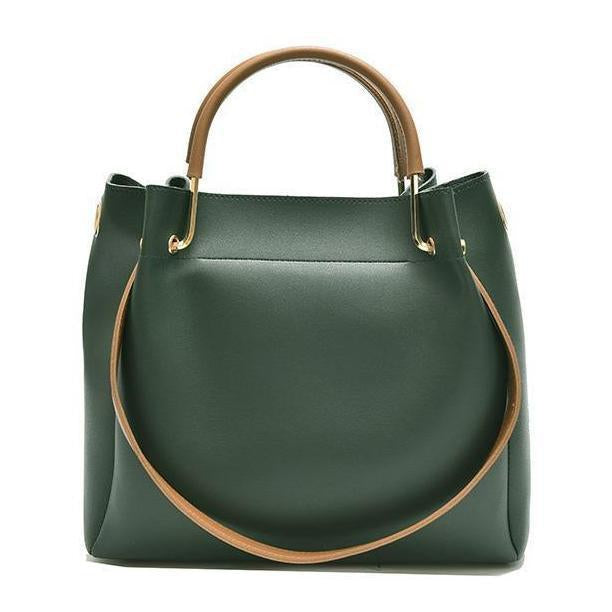A Perfect Tote Genuine Leather Shopping Bag with a Bucket Shaped Design