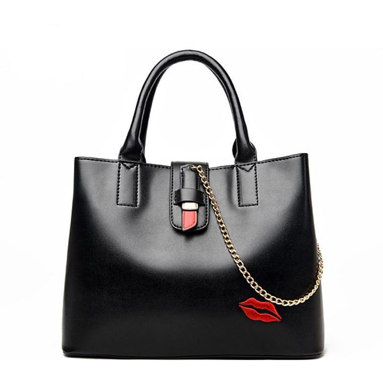 Women Casual Black Leather Handbag with Lipstick Kiss Pattern and Pendant