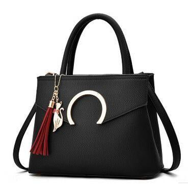 Women Luxury Black Faux-Leather Tote Messenger Bag with a Dazzling Tassel