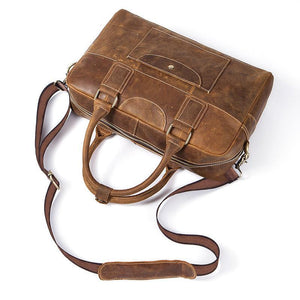 Premium and Rich Distressed Brown Genuine Leather Tote Messenger Bag for Men