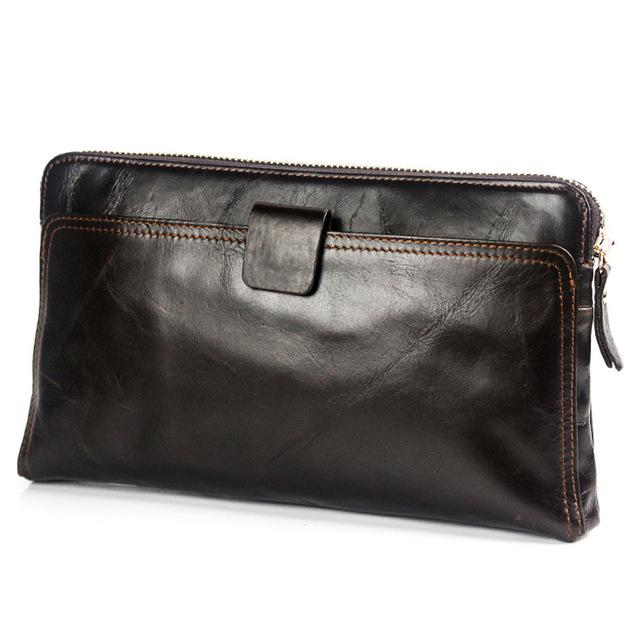 Men Genuine Leather Dark Brown Purse with an incredibly Spacious Interior