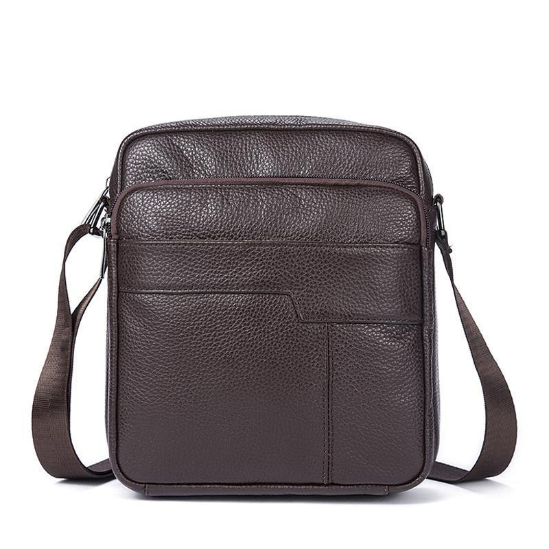 Men Original Leather Dark Brown Vintage Style Shoulder Strap Bag