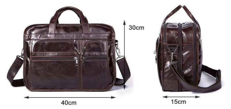 Men Designer Laptop Tote Shoulder Messenger Genuine Leather Bag