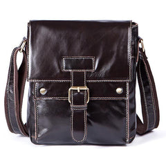 Men Genuine Leather Casual Solid Cross-body Messenger Bag with a Flap Belt Buckle Design