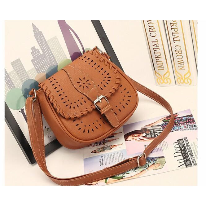 Brown Color Crossbody Messenger Handbag Photoshoot