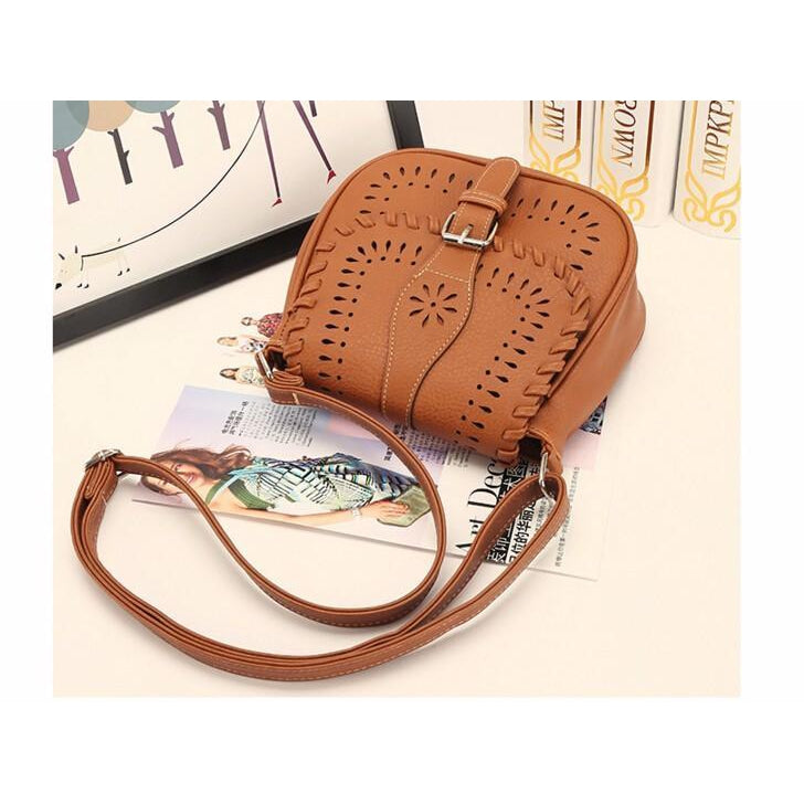Brown Color Crossbody Messenger Handbag Photoshoot Second Pose
