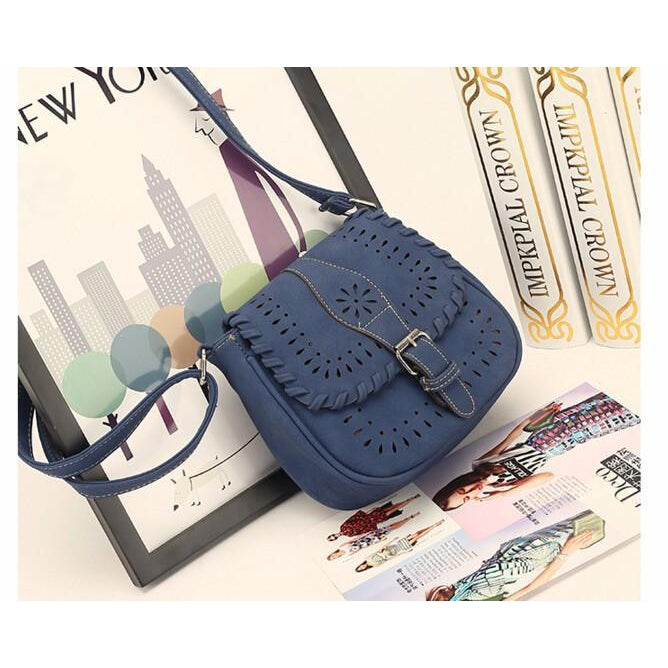 Blue Color Crossbody Messenger Handbag Photoshoot