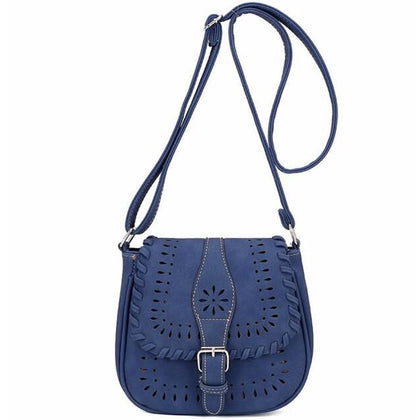 Blue Color Crossbody Messenger Handbag with Buckle Flap Closure Front