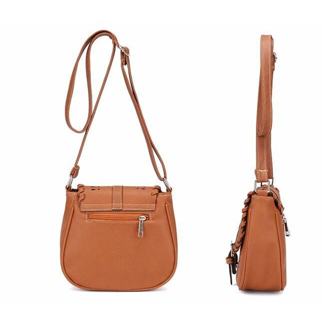 Brown Color Crossbody Messenger Handbag Side and Back Pose
