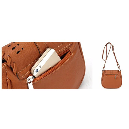 Brown Color Crossbody Messenger Handbag Slit Zipper Pocket for Mobile Phone