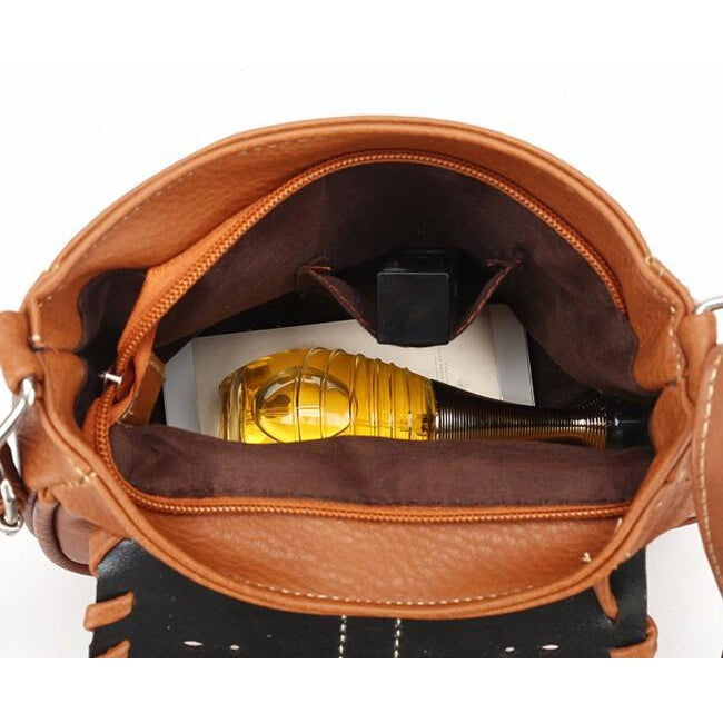 Brown Color Crossbody Messenger Handbag from Inside with Brown Polyester Lining