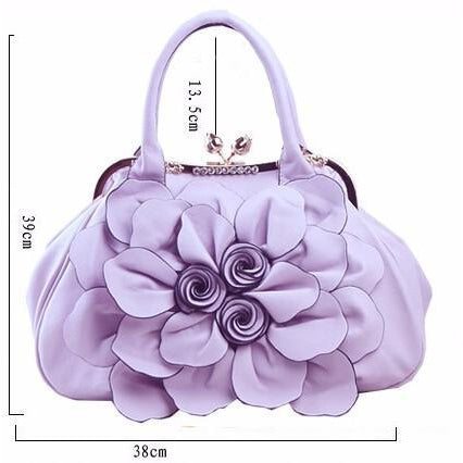Women Purple Tote Leather Handbag with Floral Design Dimensions