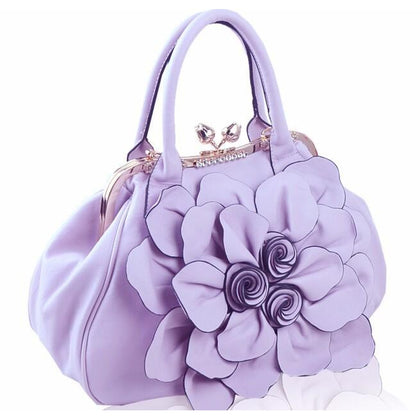Women Purple Tote Leather Handbag with Floral Design Side
