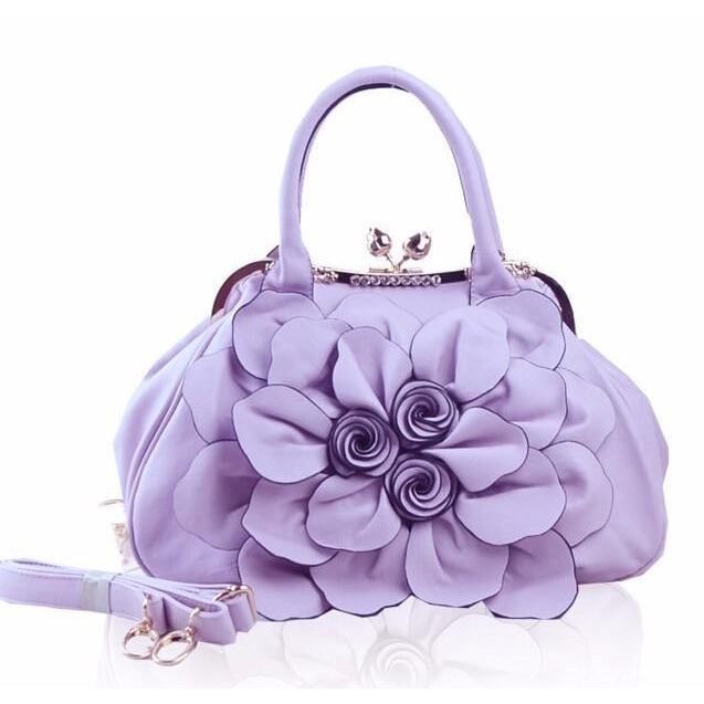 Women Purple Tote Leather Handbag with Floral Design