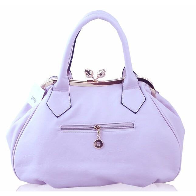 Women Purple Tote Leather Handbag with Floral Design Back