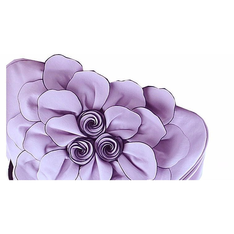 Women Purple Tote Leather Handbag Flower