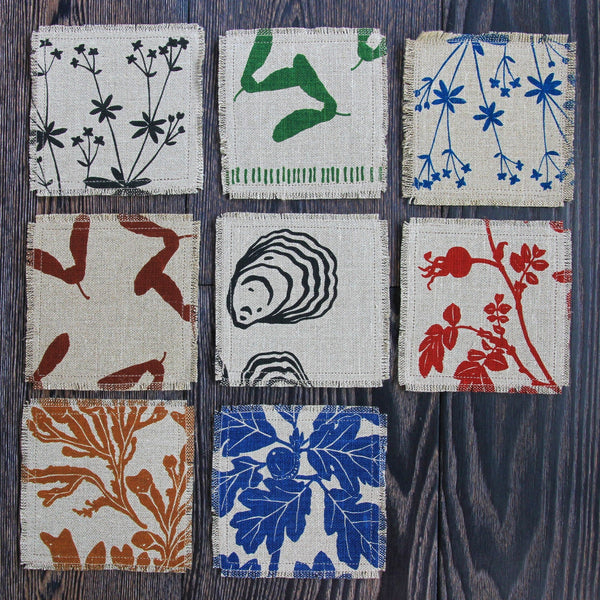 Set of 8 Linen & Felt Coasters - Northwest Native Plant Patterns