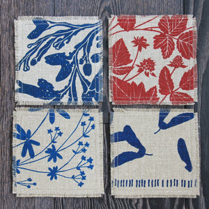 Set of 4 Linen & Felt Coasters, Northwest Native Plant Patterns