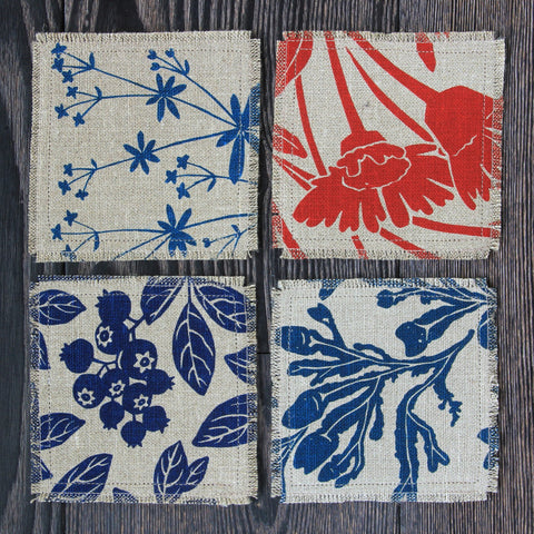 Set of 4 Linen & Felt Coasters - Mixed Patterns