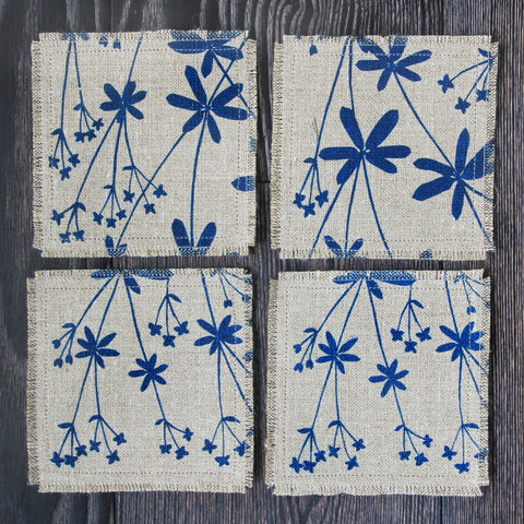 Set of 4 Linen & Felt Coasters in Bedstraw