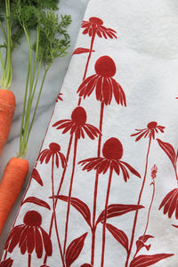 Echinacea Kitchen Towel in Raspberry on White Linen