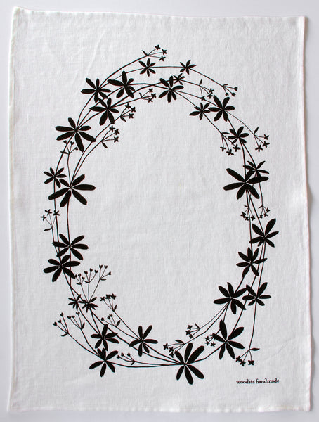 Bedstraw Kitchen Towel in Ink on White Linen