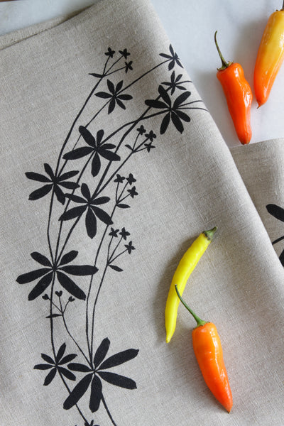 Bedstraw Kitchen Towel in Ink on Natural Linen