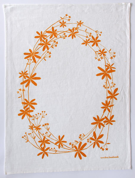 Bedstraw Kitchen Towel in Sunshine on White Linen