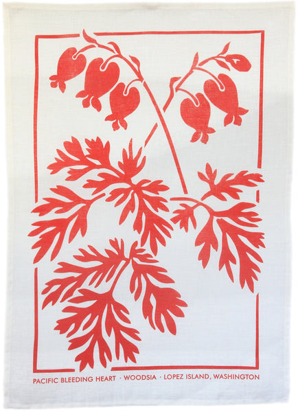 Bleeding Heart Kitchen Towel in Coral on White Linen