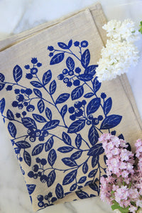 Blueberry Kitchen Towel in Blueberry on Natural Linen