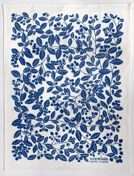Blueberry Kitchen Towel in Blueberry on White Linen