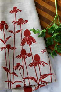 Echinacea Kitchen Towel in Raspberry on Natural Linen