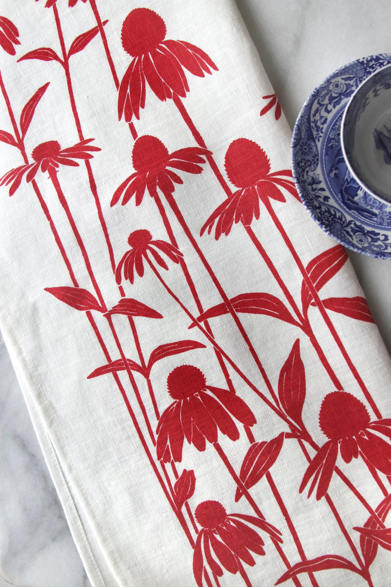 Echinacea Kitchen Towel in Sorbet on White Linen