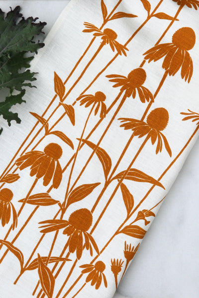 Echinacea Kitchen Towel in Sunny on White Linen