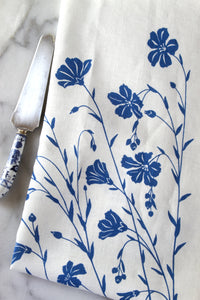 Flax Kitchen Towel in Flax Blue on White Linen