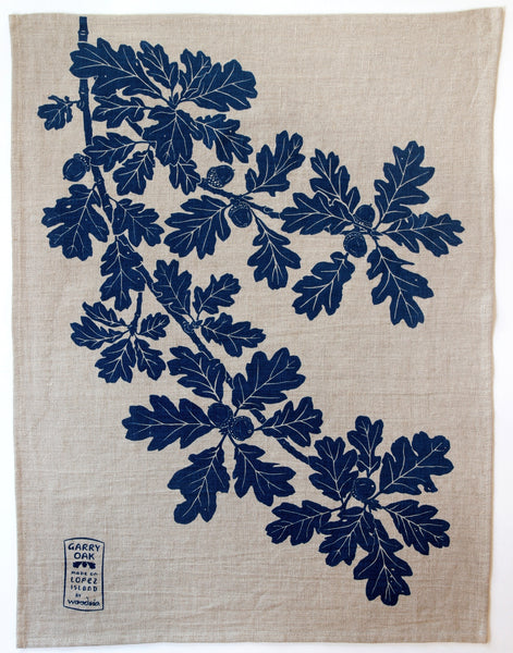 Garry Oak Kitchen Towel in Deep Blue on Natural Linen