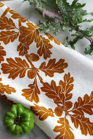 Garry Oak Kitchen Towel in Ochre on White Linen