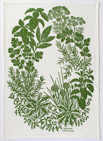 Herb Kitchen Towel in Leaf on White Linen